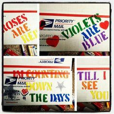 Care package ideas: Roses are red, violets are blue, I'm counting down the days till I see YOU!