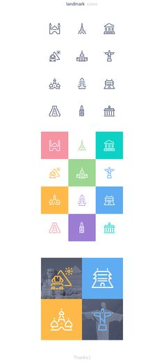 Landmark icons by Natali Filatova, via Behance
