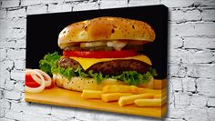 Burger And Fries food & drink canvas from only £14.99 at Canvas Art Print http://www.canvasartprint.co.uk/products/BURGER-AND-FRIES-451689.aspx