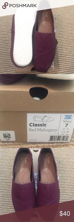 TOMS Classic Slip-Ons - size 7 Brand New, never worn Tom's Red Mahogany Classic Slip Ons - Size 7 TOMS Shoes