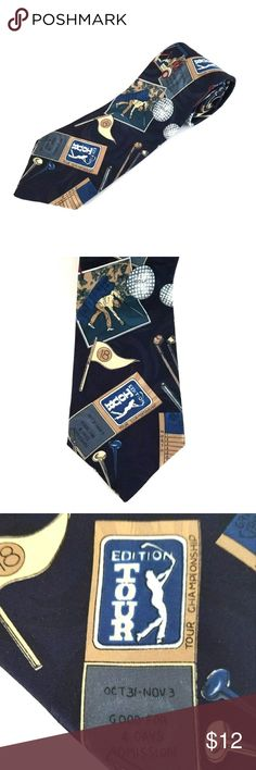 "Golf Neck Tie American Sports PGA Tour Mens Golf Tie Necktie American Sports PGA Tour Dark Blue 3 1/2"" x 56""  Golf themed men's tie, golf tour related items on a dark blue background.  This tie is 56"" long and 3 1/2"" wide.  From a smoke free home. American sports Accessories Ties"