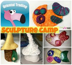 Sculpture Camp Air Dry Clay and Model Magic Projects. Texture Fish & Gnome Home from Clay Lab by Cassie Stephens. #OrientalTrading