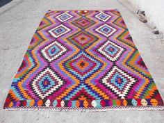 """Geometric VINTAGE Kilim Rug Area Rug, Diamond Kelim , Carpet 79,5"""" x 116"""" Floor…"""