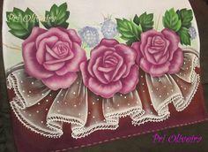 Pano de prato rosas com falso barrado   Ateliê Cantinho das cores   Elo7