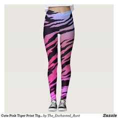 Shop Cute Pink Tiger Print Tiger Stripe Modern Pattern Leggings created by The_Enchanted_Aunt. Hipster Women, Hipster Fashion, Hipster Clothing, Art Clothing, Animal Print Pants, Animal Print Outfits, Leggings Fashion, Women's Leggings, Tiger Stripes