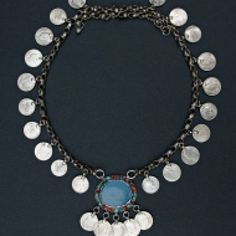 Iraqi Kurdish necklace, in silver with glass stones. Coins from the 1930s in Iraq and Iran.