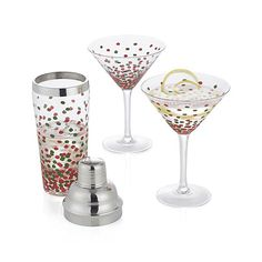 A flurry of red and green confetti decorates this festive shaker with holiday colors. The perfect partner to our Merry Martini glasses.