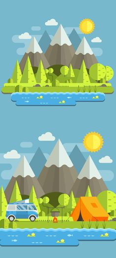 How to Create a Mountain Landscape in Flat Style in Adobe Illustrator design Illustrator Tutorials Learn Illustration Drawing Techniques Web Design, Graphic Design Tutorials, Graphic Design Inspiration, Font Design, Site Design, Flat Design Illustration, Landscape Illustration, Digital Illustration, Graphic Illustrations