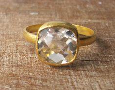 Quartz Silver Ring Gold Quartz Ring White Quartz Ring by Belesas