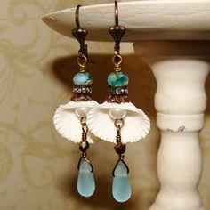 White seashell pearl and sea glass picasso bead beach earrings Pamelia Designs
