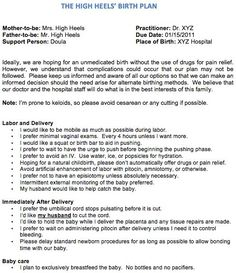 sample birth plan for an unmedicated hospital birth