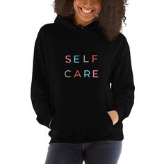 Want to show off your Self Care? Grab your Self Care hoodie today! Hooded Sweatshirts, Hoodies, Simple Style, Black Hoodie, Rib Knit, Unisex, Pullover, Stylish, Spandex