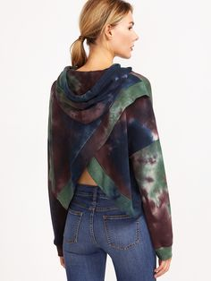 Online shopping for Multicolor Tie Dye Print Overlap Back Drawstring Hooded Sweatshirt from a great selection of women's fashion clothing & more at MakeMeChic.COM.