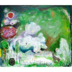 【muranagi】さんのInstagramをピンしています。 《#ムラナギ作品 No.983 雲の湧く森 2014 F10 (45.5cmx53.0cm) 遠い昔、雲に乗りたいと想ったことは、ありませんか? #woods #forêt #bosque #غابة #лес #floresta #wald #hutan #جنگل #foresta #las #숲 #森 #雲 #鹿 #インテリア #絵画 #art #picture #painting #deer #bird #moon #月 #cloud》