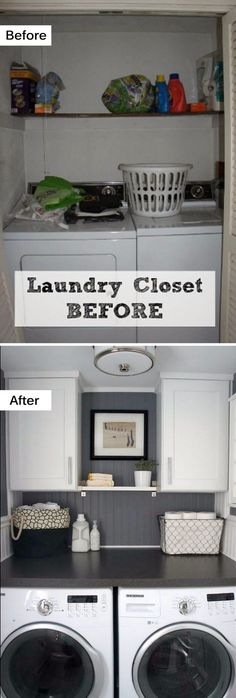 Small Laundry Room Makeover with New Cabinets and a Counter across the Washer and Dryer.