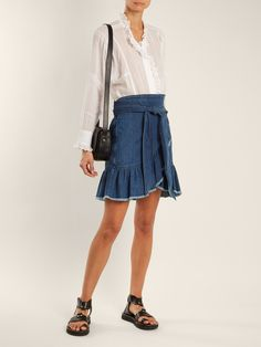 Click here to buy Isabel Marant Étoile Lindy asymmetric cotton-denim wrap skirt at MATCHESFASHION.COM