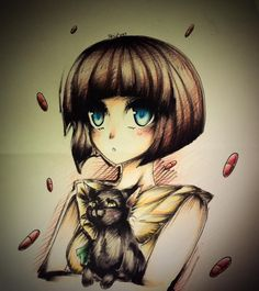 Fran Bow fanart by WhiteFoxu<<this art style is beautiful Laconia Bike Week, Bow Art, Little Misfortune, Blonde Aesthetic, Best Profile Pictures, Rpg Horror Games, Feed In Braid, Witch House, Simple Girl