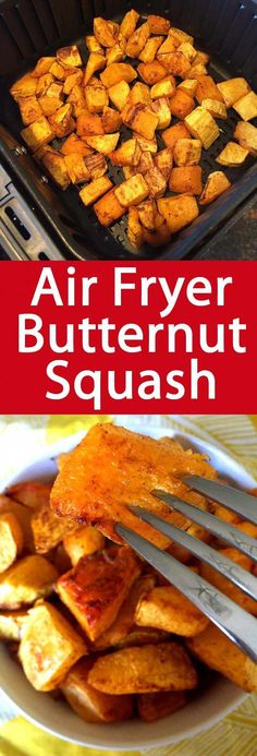 This air fryer butternut squash is amazing! Perfectly roasted in 20 minutes, so healthy and delicious! This air fryer butternut squash is amazing! Perfectly roasted in 20 minutes, so healthy and delicious! Air Fryer Recipes Vegetables, Air Fryer Oven Recipes, Air Fryer Dinner Recipes, Vegetable Recipes, Veggies, Air Fryer Recipes Squash, Tostadas, Roasted Butternut Squash Cubes, Roasted Squash
