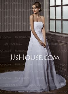 Wedding Dresses - $198.99 - A-Line/Princess Strapless Chapel Train Chiffon  Satin Wedding Dresses With Ruffle  Beadwork (002000505) http://jjshouse.com/A-line-Princess-Strapless-Chapel-Train-Chiffon-Satin-Wedding-Dresses-With-Ruffle-Beadwork-002000505-g505