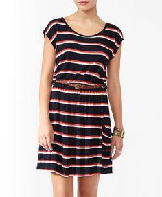 Striped Linen-Blend Dress w/ Belt from Forever21.com