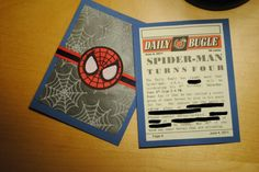 Spiderman birthday invitations-- FREE printables!!!  Did this for Erik's party.