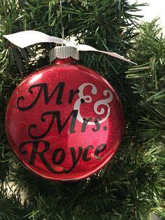 Mr. & Mrs. Ornament, Customized by TheLittleSparkleShop on Etsy https://www.etsy.com/listing/244134271/mr-mrs-ornament-customized