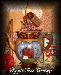 Isnt the shape of this coffee pot charming? The painting is from a design by Terrye French. Blest be the tie that binds is hand lettered around