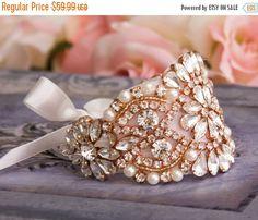 SALE 15% OFF Wedding Bracelet Rose Gold Bridal by GarterQueen