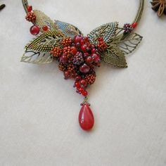 fall berry necklace seed bead autumn pendant exclusive