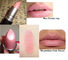 Save BIG TIME with this list of make-up / cosmetic dupes - drugstore versions of high-end products - shown here is Mac Creme cup and Maybelline Pink Please