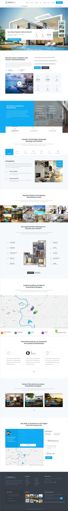 Buy DreamPalace - Single Property Real Estate Theme by fortunecreations on ThemeForest. DreamPalace is Single Property Real Estate WordPress Theme build using Visual Composer. Website Design Layout, Web Layout, Layout Design, Beautiful Web Design, Best Web Design, Property Real Estate, Real Estate Companies, Site Vitrine, Design Inspiration