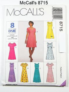 Sz 14/16/18- McCalls Dress Pattern 8715 - Misses' Dress in Two Lengths and Belt