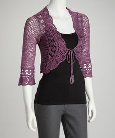 Purple Crochet Tie-Front Cardigan by Top Picks: Women's Apparel on #zulily today!