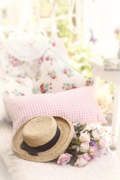 #Shabby #Chic creative ideas to make your house a home- pink shabby cushions and bits and bobs.. http://www.myshabbychicstore.com