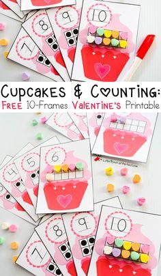 Free 10-Frames Valentine's Day Math Printables