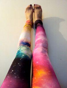 Nebula Leggings Women's Leggings Stretch Leggings Galaxy Leggings Spandex Tights Yoga Pants Purple Blue Pink Shades Small - Medium Size by GrahamsBazaar, $20.00