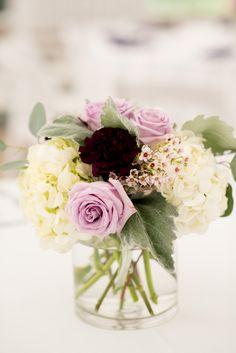 Lavender, Purple and Gray Wedding reception centerpiece