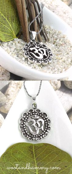 om medallion necklace in sterling silver.
