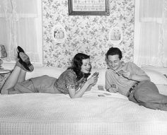 Gene Tierney and Oleg Cassini at home, 1944