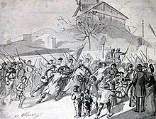 """Commune de Paris (1871) : les canons du 18 mars. -Les défaites ont suscité de nouveaux sujets de mécontentement, la capitulation a été considérée comme une trahison à laquelle parait devoir s'ajouter une trahison politique à l'égard de la République. Par le pacte de Bordeaux (10 février) l'Assemblée nationale a désigné Thiers, orléaniste notoire, comme """"chef du pouvoir exécutif""""."""