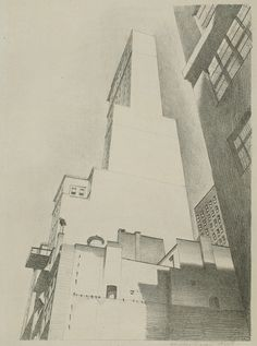 "Charles Sheeler (American, 1883–1965). Delmonico Building, 1926. The Metropolitan Museum of Art, New York. John B. Turner, 1968 (68.728) | This lithograph depicts the building from the southeast, as seen from the sidewalk, so that the viewer is forced to ""look"" upward with the artist. #newyork #nyc #architecture"