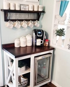 20 DIY Coffee Station Ideas for Your Mood Buzz (How to Make Your Own), Home coffee stations, Coffee Nook, Coffee Bar Home, Home Coffee Stations, Coffee Maker, Coffee Bar Ideas, Coffee Machine, Dyi Coffee Bar, Office Coffee Station, Night Coffee