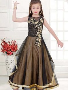 Party Wear Black Net Embroidered Work kids Wear Gown