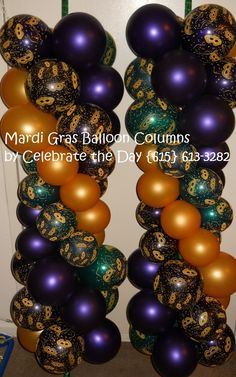 Mardi Gras themed Balloon Columns by Celebrate the Day