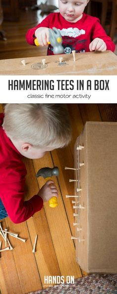 Pounding tees into a cardboard box - great idea for fine motor skills for toddlers! Indoor fun.