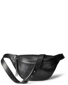 Oversized women's fanny pack in black leather with a silver zipper - DAPHNY RAES