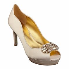 """My fave so far  Peep toe pump with jewel detail on toe on a 3 1/2"""" heel."""