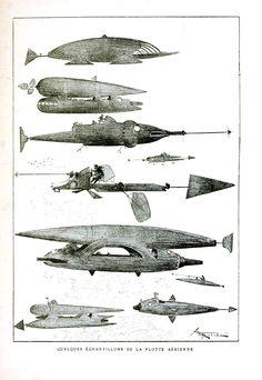 Framed Vintage Illustration of Sci-Fi Flying Machines, 19th c