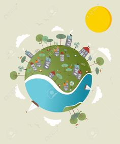 Vector - Cute go green environment world sketch. Vector illustration layered for easy manipulation and custom coloring.