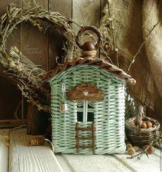 Купить Домик 'Весна на Садовой улице' плетеный короб - коричневый, бирюзовый, домик интерьерный